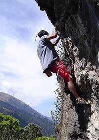 Manuel Vanegas bouldering in Huehuetenango. Picture by Jake.