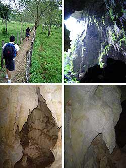 Camino hacia las cuevas, vista parcial de la entrada y formaciones propias de la cueva.