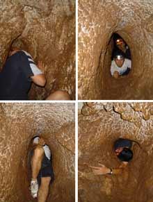 Ingreso al sistema de cuevas, Manuel, Julio y Héctor en secuencia.