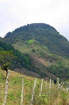Un espeso bosque corona al volcán Quetzaltepeque.