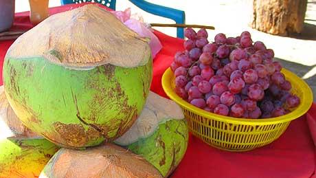 Uvas y cocos fríos en Zacapa, cercanías de Usumatlán.