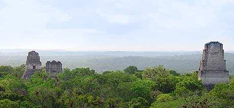 Clásica imagen de Tikal entre la selva, vista desde el Templo IV.