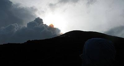 El humeante volcán Pacaya