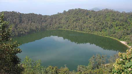 Laguna de Chicabal en el cráter del volcán Chicabal.