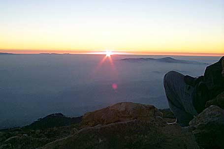 Amanecer desde la cima de Tajumulco.